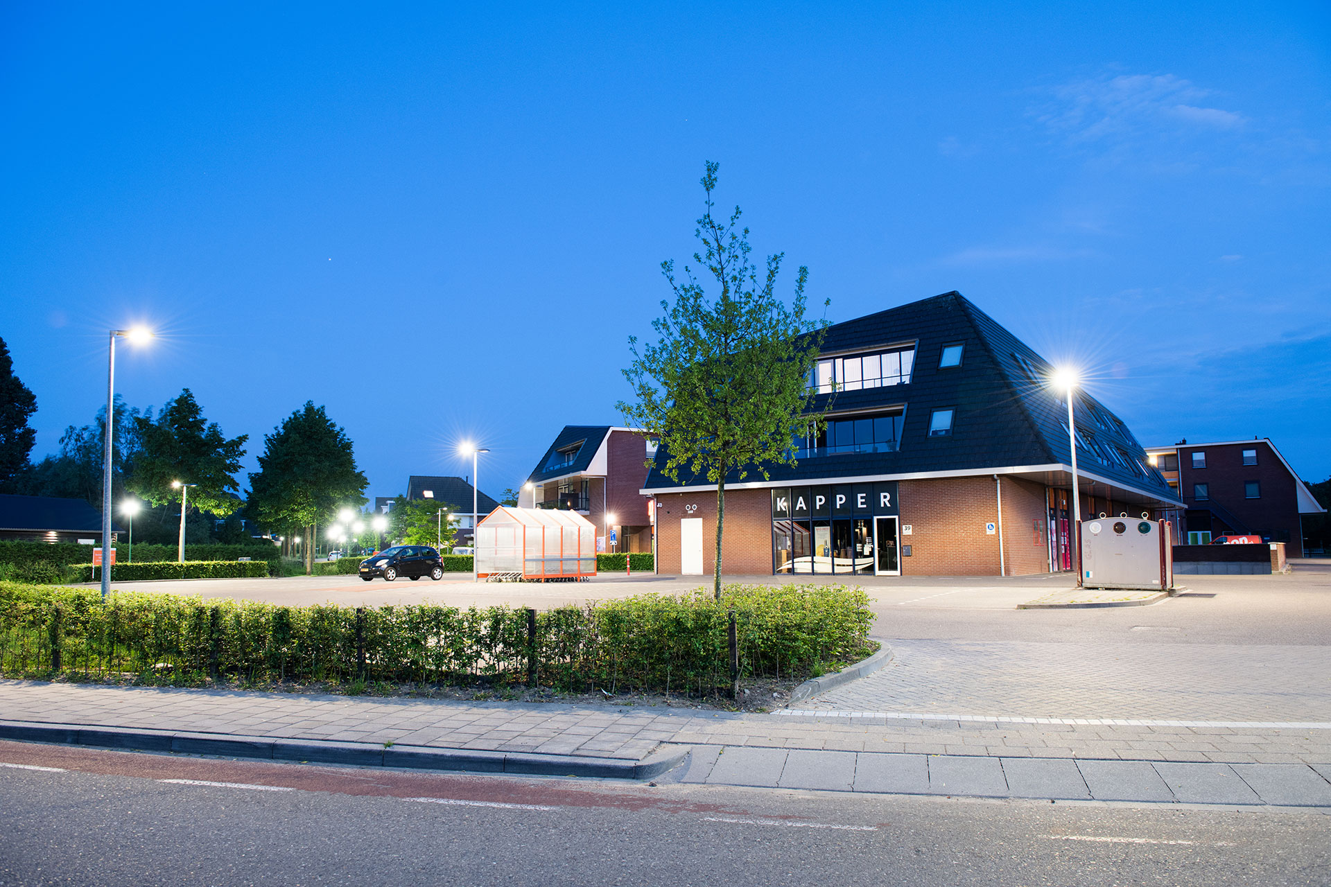 Ymera LED urban luminaire enhances visibility while creating a soft ambiance at night for Schoneveld complex