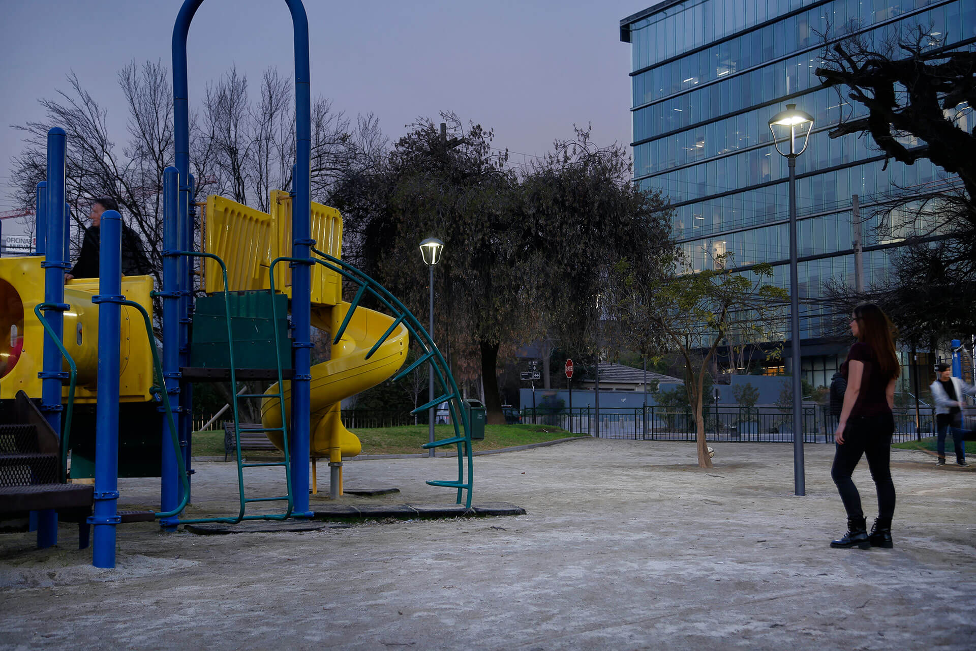 Owlet control system dims the light in the parks at Vitacura when no-one is around to reduce energy costs