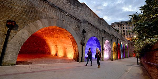Dynamic lighting brightens up St Blaise Square creating a welcoming passage for shoppers and commuters