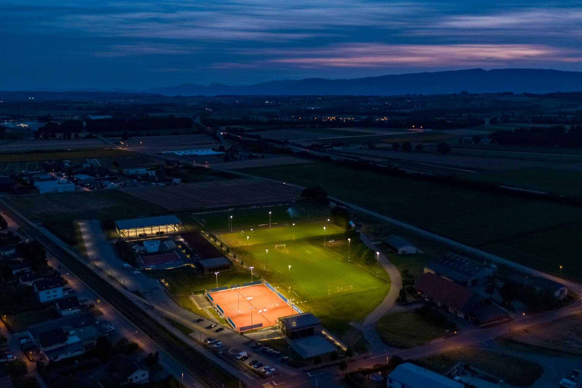 OMNIstar floodlights light FC Avenches football pitch with zero light spill, preserving the night sky